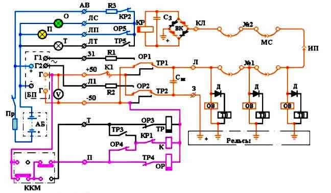 Схема управления системой освещения пассажирского вагона типа 47 К, К, р, к, 2.2.  Учись читать электрические схемы.